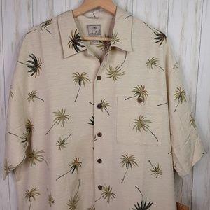 Luau Silk Blend Tropical Tiki Palm Tree Mens Shirt